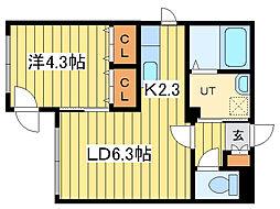 ラルコバレーノN16[4階]の間取り