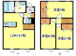 [テラスハウス] 北海道札幌市東区東雁来十一条4丁目 の賃貸【/】の間取り