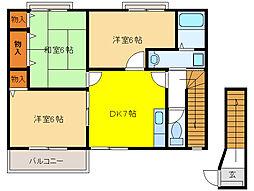 セトル・カンフォタブルA[2階]の間取り