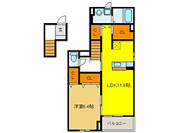 ソラーナ平島II 2階1LDKの間取り