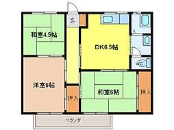 愛知県知多郡武豊町大字東大高字豊倉新田の賃貸アパートの間取り