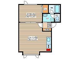 エミネンス910 2階1DKの間取り
