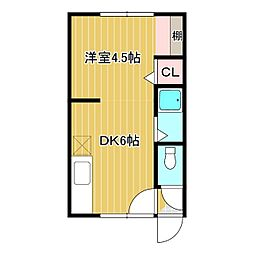 スペース参番館 1階1DKの間取り