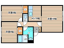 JR石北本線 北見駅 徒歩26分の賃貸アパート 2階2LDKの間取り