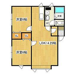 北海道北見市東相内町の賃貸アパートの間取り