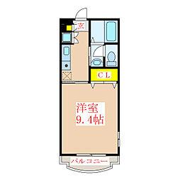 R&Mマンション 3階1Kの間取り