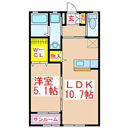 バス 景色ヶ浜下車 徒歩7分の賃貸アパート 2階1LDKの間取り