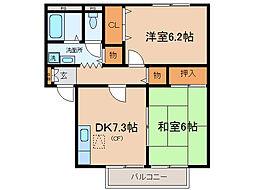 ハウス茶屋A・B[1階]の間取り