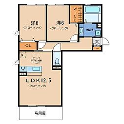リート623WEST[1階]の間取り