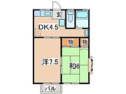 コーポ・アイリス[2階]の間取り