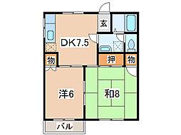 タウンフラット茶畑 C棟[1階]の間取り