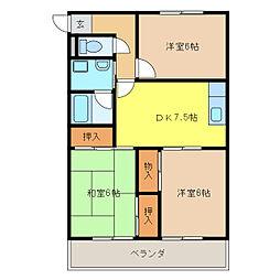 マンション登り戸[2階]の間取り