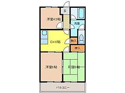 愛知県江南市赤童子町御宿の賃貸アパートの間取り