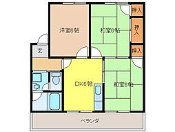 コーポ倉知[1階]の間取り