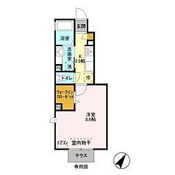 Casa Naraha カーサナラワ 1階1Kの間取り