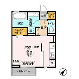 JR内房線 長浦駅 バス9分 袖ヶ浦電話局バス停下車 徒歩1分の賃貸アパート 2階ワンルームの間取り