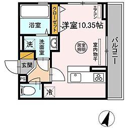 JR内房線 袖ヶ浦駅 徒歩10分の賃貸アパート 2階ワンルームの間取り