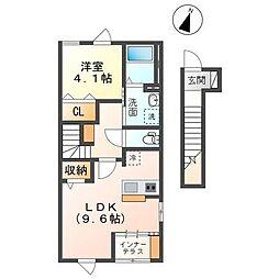 仮称君津市南子安新築アパート 2階1LDKの間取り