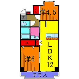 東京都葛飾区西水元3丁目の賃貸マンションの間取り