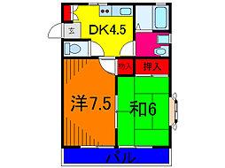東京都葛飾区東水元4丁目の賃貸アパートの間取り