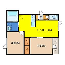 ディアコート 1階2LDKの間取り