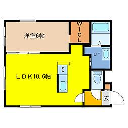 ITH asahicho 3階1LDKの間取り