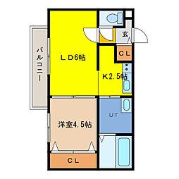 ecoa栄町 1階1LDKの間取り