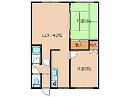 北海道函館市神山1丁目の賃貸アパートの間取り