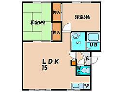 北海道亀田郡七飯町大川1丁目の賃貸アパートの間取り