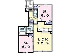 北海道亀田郡七飯町鳴川5丁目の賃貸アパートの間取り