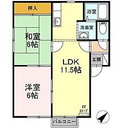 北海道函館市中道1丁目の賃貸アパートの間取り