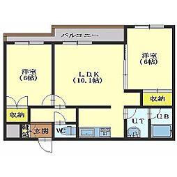 北海道函館市美原2丁目の賃貸マンションの間取り