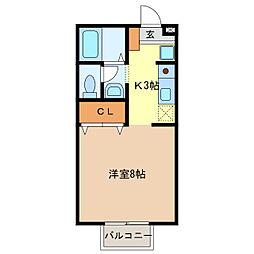 ドミールHAYASHI[A102号室]の間取り