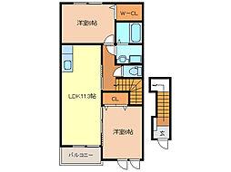 フリーデハイムA・B[2階]の間取り