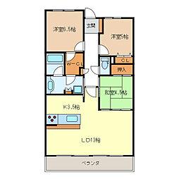 ローレルコート津新町1204号室[12階]の間取り