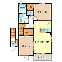 サニーハイツSEINAI III[2階]の間取り
