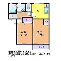 新潟県新潟市西区坂井東4丁目の賃貸アパートの間取り