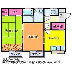 レジデンス・ナカジマ[B203号室]の間取り