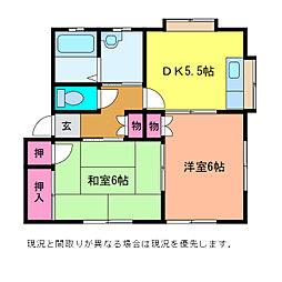 ルネス・坂井[1階]の間取り