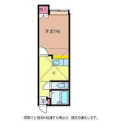 アパートメント・ラフィーネ 1階ワンルームの間取り