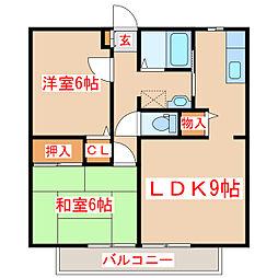 鹿児島県鹿児島市上福元町の賃貸アパートの間取り