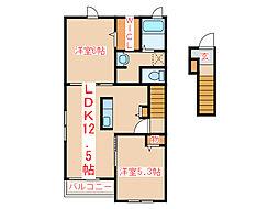 JR指宿枕崎線 枕崎駅 バス45分 保健所前下車 徒歩11分の賃貸アパート 2階2LDKの間取り