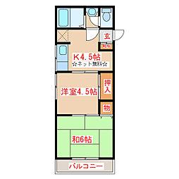 鹿児島県日置市伊集院町徳重3丁目の賃貸アパートの間取り