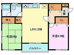 浜崎フラット[2号室]の間取り
