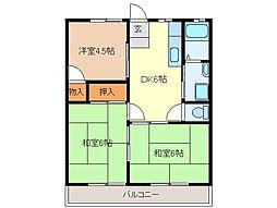 永倉コーポ2号棟[2階]の間取り