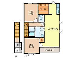 ラフォーレ福居12[A201号室]の間取り
