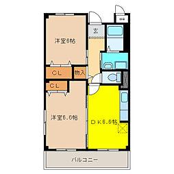 カーサ・タカバII[2階]の間取り