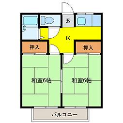 横山ハイツ[2D号室]の間取り