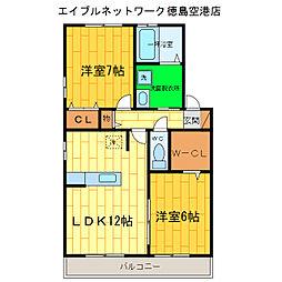オーキッドコートC[2階]の間取り