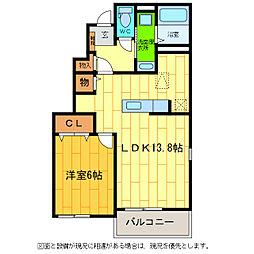 徳島県徳島市川内町旭野の賃貸アパートの間取り
